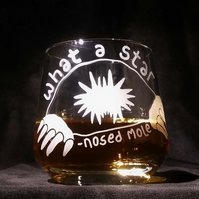 Whisky Glass or Brandy Snifter, with Sandblasted, Etched STAR-NOSED MOLE.