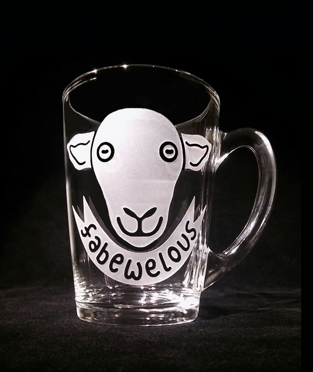 Sand-Blasted Glass Mug. 'FABEWELOUS' Can Be Personalised. Sheep Gift.