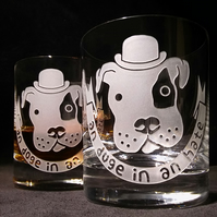 Large Crystal Whisky Glass, Tumbler, with Sand-Blasted, Etched DOG WITH BOWLER.