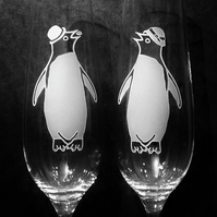 PENGUIN LOVE. Pair Of Crystal Fluted Champagne Glasses.