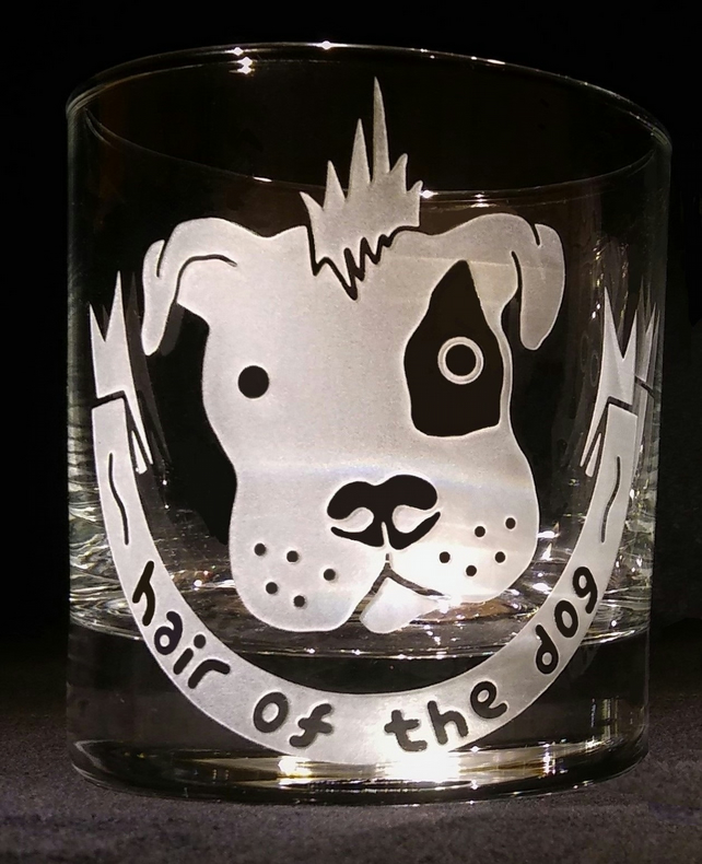 Whisky Glass, Tumbler, with Sand-Blasted, Etched 'Hair Of The Dog.'