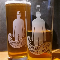 2 Pint Glasses, Beer Glasses With Sandblasted, Etched Iron Men.