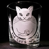Whisky Glass, Tumbler.  Etched, Sandblasted with 'THE CAT'S WHISKY'