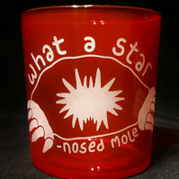 Red Glass Tumbler, Water Glass, with Etched, Sandblasted STAR-NOSED MOLE
