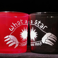 Red and Grey Glass Tumblers.  A Pair Of Sand-Blasted STAR-NOSED MOLES