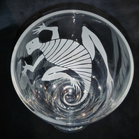 Wine Glass, Goblet. Etched, Sandblasted Gecko With Sun.