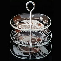3 Tier Glass Cake Stand, With Sandblasted, Etched 'Chameleons Love Cake Too'!
