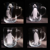4 Sand-Blasted, Etched Glass Mugs. A Quartet Of Penguins With Hats!