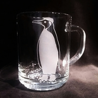 Sand-Blasted, Etched Glass Mug. King Penguin With Flat Cap. Penguin Gift.