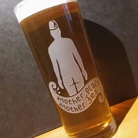 Pint Glass With Sandblasted, Etched Iron Man. 'Another Place, Another Fez'.