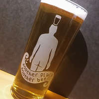 Pint Glass With Sandblasted, Etched Iron Man. 'Another Place, Another Beer'.