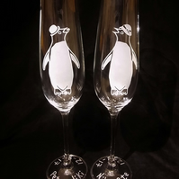 Personalised Champagne Flute Glasses, With 2 Sandblasted Adelie Penguins.