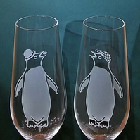 HIS AND HIS Crystal Champagne Flute Glasses, With 2 Sandblasted Adelie Penguins