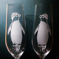 HERS AND HERS Crystal Champagne Flute Glasses, With Sandblasted Adelie Penguins