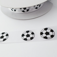 White satin football ribbon 20mm wide black footballs
