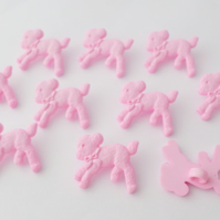 10 pink lamb baby buttons 20mm