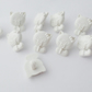 10 white cat buttons 15mm