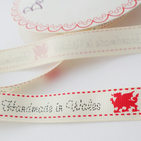 Handmade in Wales ribbon 16mm wide craft gift wrap ribbon