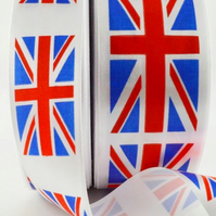 2 metres Union Jack satin ribbon 25mm