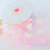 2 metres sheer organza Pink heart ribbon 38mm wide