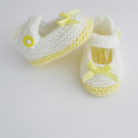 Hand knitted Mary Jane baby booties shoes white and lemon 0-3 months