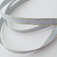 2 metres silver lurex ribbon 9mm wide