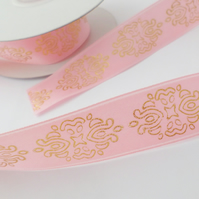 2 metres pink and gold satin ribbon 25mm wide