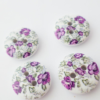 4 round wooden flower buttons 15mm