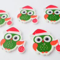 5 wooden Xmas Santa owl buttons 30mm