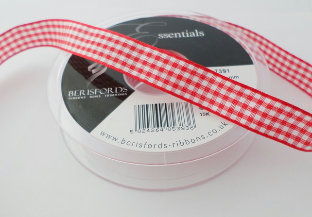 Berisfords Essentials red Gingham checked ribbon 15mm wide school ribbon