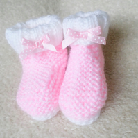 Hand knitted baby girl booties with bows white and pink 0-3 months