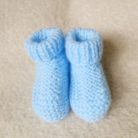 Hand knitted blue baby boy booties 0-3 months
