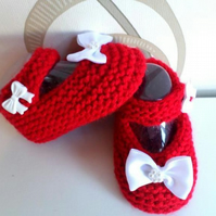 Hand knitted red Mary Jane baby shoes booties