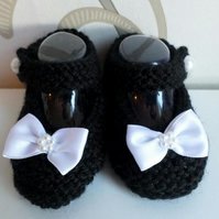 Hand knitted black Mary Jane baby shoes booties