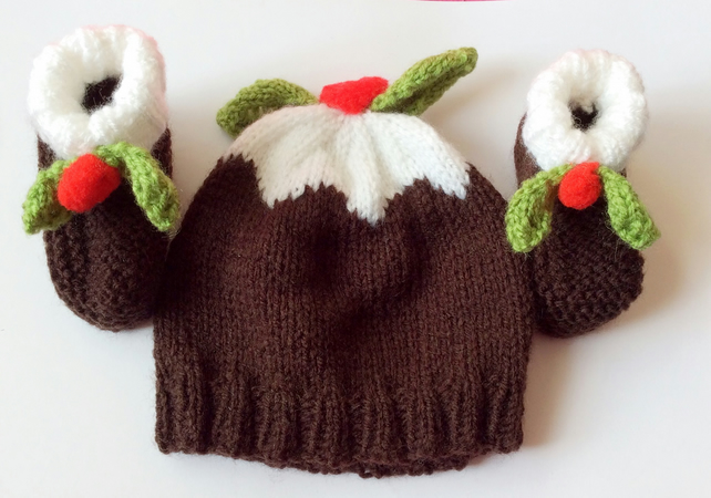 Hand knitted baby hat and booties Christmas pud... - Folksy ff41c36a5647