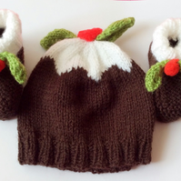 Hand knitted baby hat and booties Christmas pudding baby hat 0-3 months