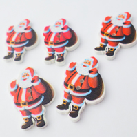 10 wooden Santa buttons 30mm Christmas Crafts
