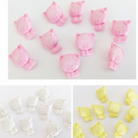 10 cat buttons 15mm pink, white, lemon