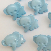 Blue elephant baby buttons crochet, knitting, craft sewing buttons x 10