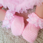 Pink baby girl reborn doll knitted lace booties