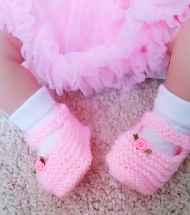Pink Mary Jane baby doll shoes booties hand knitted, newborn baby shower gift