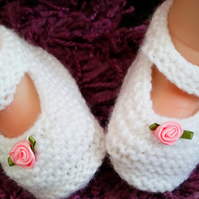 White knitted baby booties, reborn baby, Mary Jane shoes, Baby Shower Gift