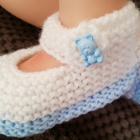 Hand knitted baby booties, white baby shoes