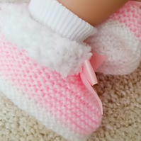 Hand knitted baby girl pink boots, baby slippers, furry baby boots