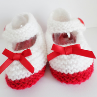 Hand knitted baby booties Mary Jane shoes
