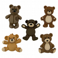Teddy Bear craft buttons, cake toppers