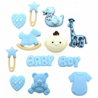 Dress It Up Baby Boy craft buttons and flatbacks Pack of 12
