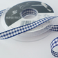 Berisfords Navy Gingham ribbon 10mm wide x 2 metres