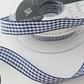 Berisfords Navy Gingham ribbon 15mm wide x 2 metres