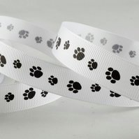 Paw print grosgrain ribbon 15mm wide x 2 metres